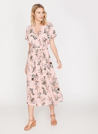 Koton Çiçekli Uzun Elbise Pembe